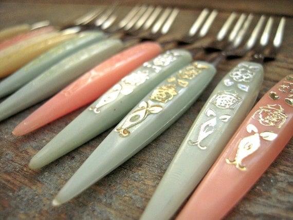 Vintage pastel stainless steel little appetizer forks