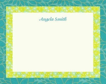 Printable Notecards-Turquoise and Green