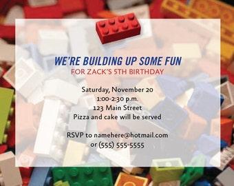 Printable Building Block Invitations