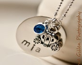 Princess Personalized Hand Stamped Sterling Silver Necklace with Swarovski Birthstone and Pumpkin Carriage