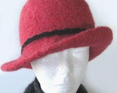 Strawberry Red Alpaca Hat Hand Dyed Felted gift Natural wool w Black band