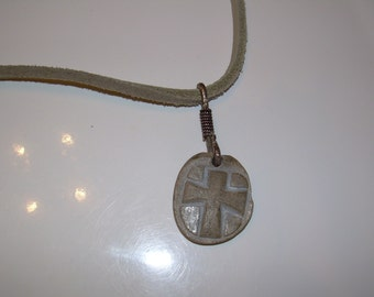 Fossilized Bone Cross with Sterling and leather necklace