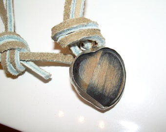 Heart Shaped wood bezeled in Silver leather necklace