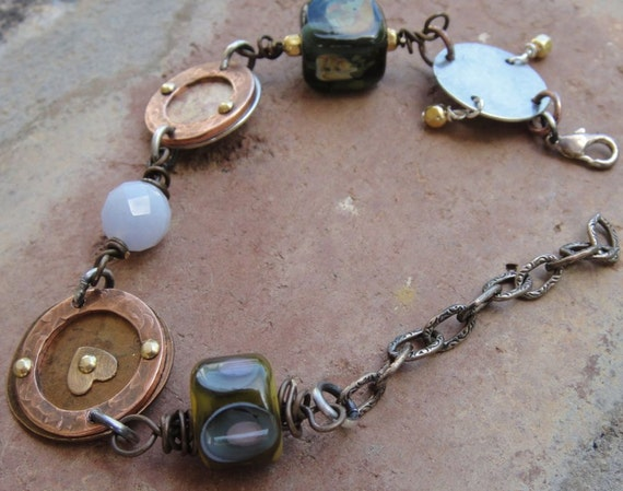 New Orleans Chic-hand riveted-lampwork bracelet