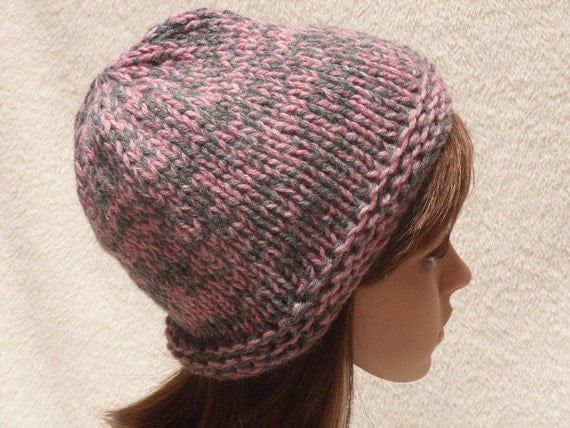 Wool Knit Cap/Hat hand knit in pink and grey