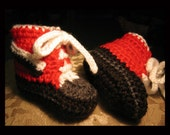 Hand Crocheted Team Colors High Top Baby Booties Red Black White and Silver