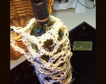 Wine Tote Hand Crocheted of All Natural Tan Jute