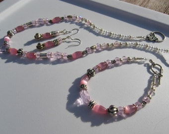 Pink Crystal Catseye Silver Necklace Set Chenelle Bridal Style 10