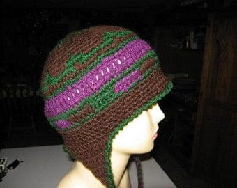 Brown Plum Green Snowboarder Hat with Earflaps and Braided Tassles