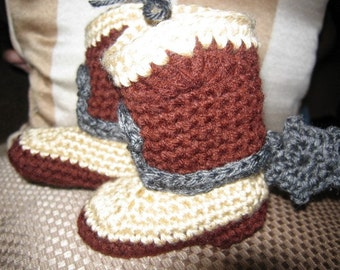 Hand Crocheted Baby Cowboy or Cowgirl Boots with Spurs