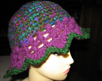 Beautiful Variegated Green Purple n Blue Lacy Bucket Hat with Scalloped Edges