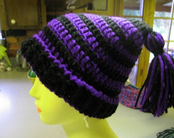 Crocheted Childs Double Tassel Jester Hat in Purple n Black