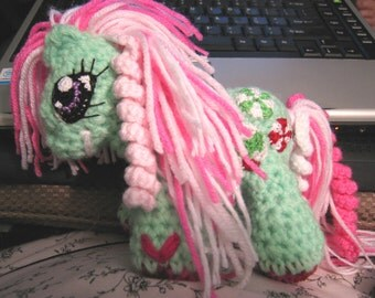 Custom Hand Crocheted Aschlees Little Minty Pony doll