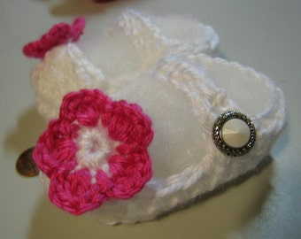 Hand Crocheted Tiny White Mary Jane Booties w Pink Flower Accent