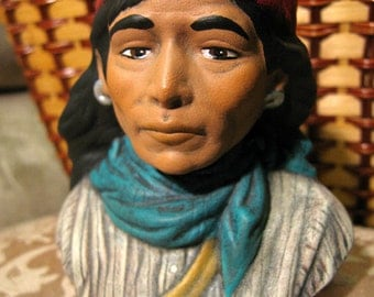 Hand Painted Ceramic Native American Geronimo Bust