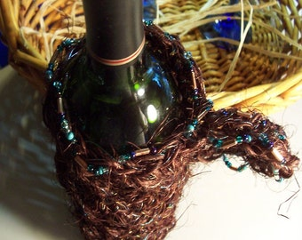 Wine Tote Hand Crocheted of All Natural Brown Jute Bead Accents