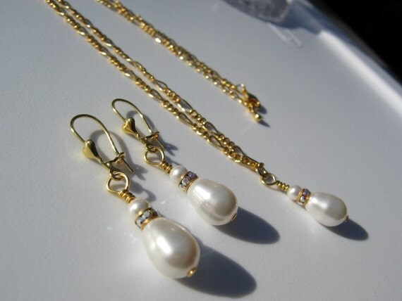 Brides White Pearl Drop Necklace with Crystal Rondelle Angelica Style 2