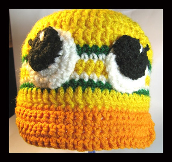 Hand Crocheted Baby Duck Hat in Oregon Team Colors