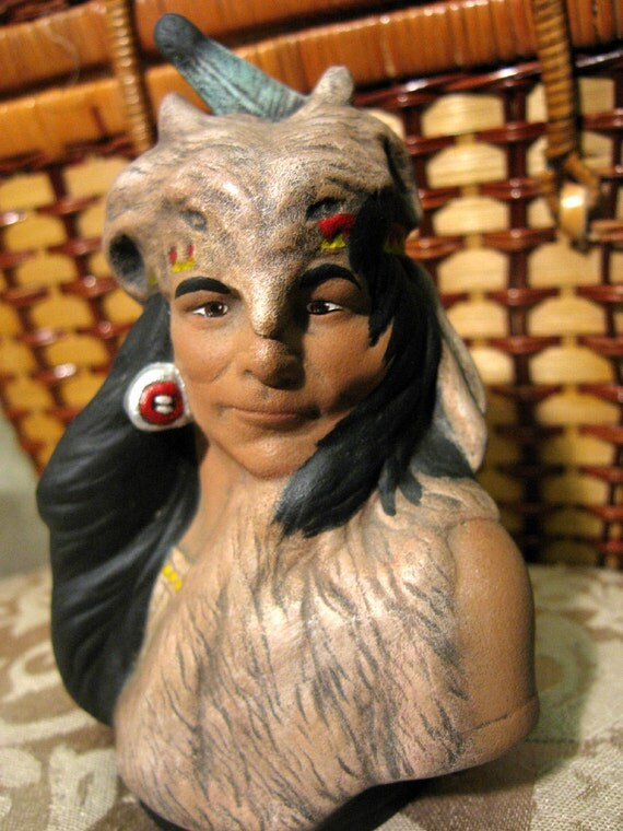 Hand Painted Ceramic Native American Crazy Horse Bust