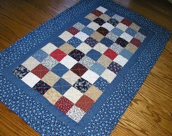 Quilted Table Runner, Blue and Red Patchwork 19 x 31 inches