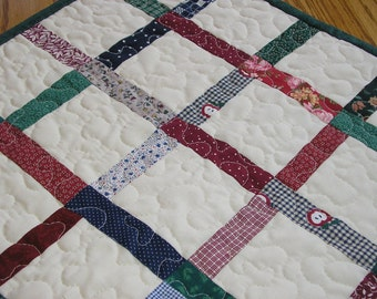 Quilted Table Runner / Topper, Scrappy Patchwork