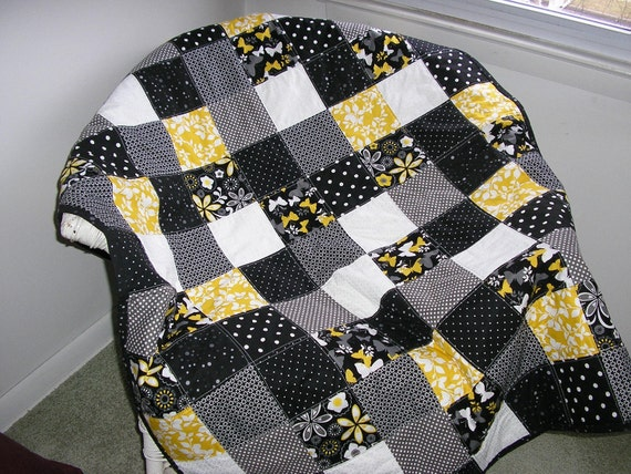Black, White, Gray and Yellow Lap Quilt