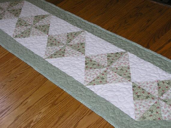 Light Green Pinwheel Runner 62 x 15 1/2 inches