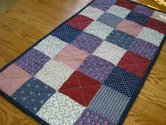 Quilted Table Runner using Vintage Navy and Red Prints