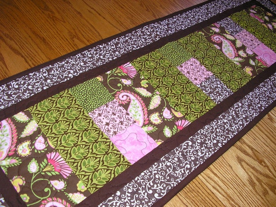 Brown, Green, Pink Table Runner