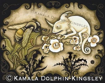 "Albino Chameleon and Bee print by Kamala Dolphin-Kingsley  -   22""x28"""