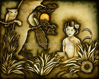 Ruan Lingyu's Puzzling Interlude at Owl Hollow Gicleé by Kamala Dolphin-Kingsley - 22x28