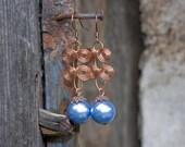 EARRINGS - Copper swirls in blue