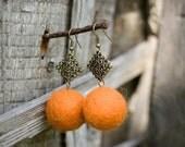 Felted Filigree Orange Earrings