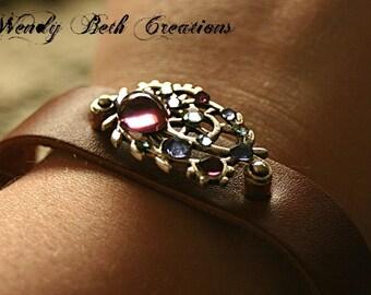 Overstock Sale 20% Off - Amethyst Purple Steam Punk Bindi Style Leather Bracelet