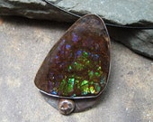 Sterling Silver and Ammolite Pendant  - Hand Made Silver Artisan Jewellery - Designed by A Second Time