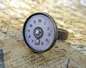 Steampunk Ring - Antiqued Gold Tone with Aurora Borealis Crystal - Vintage Repurposed Watch Dial and Gear Jewellery - Handmade and Designed by A Second Time