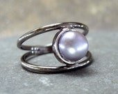 Misty Grey Pearl and Sterling Silver Ring - Silver Artisan Jewellery - Designed by A Second Time