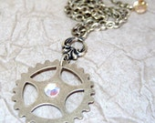 Steampunk Single Gear Necklace - Antiqued Gold Tone - Handmade and Designed by A Second Time