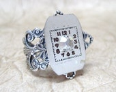 Steampunk Ring With Vintage Watch Dial - Antiqued Silver Tone Filigree  - Handmade and Designed by A Second Time