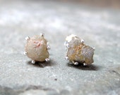 Natural Rough Diamond and Sterling Silver Stud Earrings - Rustic Round Shape - Handmade and Designed by A Second Time