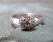 Rough Diamond Solitaire set in Sterling Silver Deco Style Band - Handmade and Designed by A Second Time