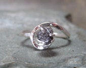 Rough Diamond and Sterling Silver Ring - Artisan Jewellery - Handmade and Designed by A Second Time