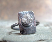 Modern Rough Diamond Solitaire and 925 Sterling Silver Ring -  Artisan Jewellery - Handmade and Designed by A Second Time
