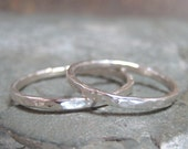 His and Hers Sterling Silver Wedding Bands - Friendship Rings - Hammered Finish - Stacking Rings - Commitment Bands