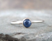 Blue Sapphire and 10K White and Yellow Gold Ring -  Artisan Jewellery - Handmade and Designed by A Second Time
