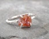 Mandarin Orange Spessartite Garnet Ring - Raw Uncut Rough Garnet - Sterling Silver Artisan Jewelery - Handmade and Designed by A Second Time