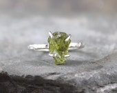 Peridot Sterling Silver Ring - Raw Uncut Rough Peridot - Handmade and Designed by A Second Time