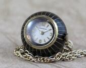 Retro 1970's Ladies Pendant Necklace Watch - Caravelle - Mechanical Movement