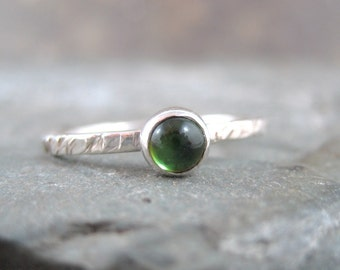 Green Tourmaline Sterling Silver Stacking Ring  -  Artisan Jewellery - Green Gemstone Ring