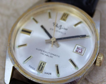 Vintage Valgine 25 Jewel Wrist Watch - Automatic Movement - Circa 1960's - Mad Men Style